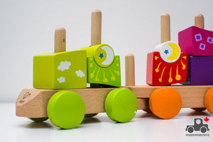 Hape Fantastia Building Blocks Toddler Push and Pull Train Set - Wood Wood Toys Canada's Favourite Montessori Toy Store