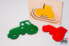 Load image into Gallery viewer, Hape George Luck Five Tractors Wood Puzzle (5 Piece) - Wood Wood Toys Canada's Favourite Montessori Toy Store