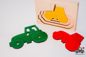 Hape George Luck Five Tractors Wood Puzzle (5 Piece) - Wood Wood Toys Canada's Favourite Montessori Toy Store