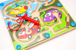 Hape Mighty Motors Kid's Magnetic Wooden Maze Puzzle (Previously Loved) - Wood Wood Toys Canada's Favourite Montessori Toy Store