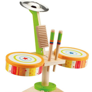 Hape Rock and Rhythm Kid's Musical Instruments Wooden Drum Set - Wood Wood Toys Canada's Favourite Montessori Toy Store