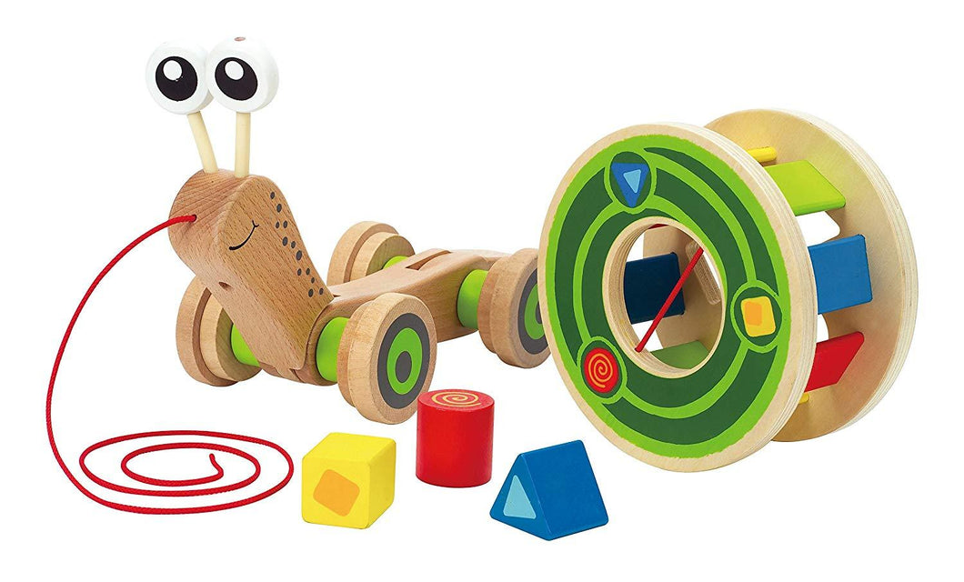 Hape Walk-A-Long Snail Toddler Wooden Pull Toy - Wood Wood Toys Canada's Favourite Montessori Toy Store