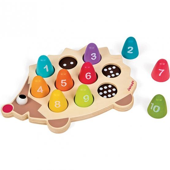 Janod I-Wood Learn to Count Hedgehog - Wood Wood Toys Canada's Favourite Montessori Toy Store