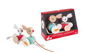 Janod Zigolos Pull-Along Rabbits - Wood Wood Toys Canada's Favourite Montessori Toy Store