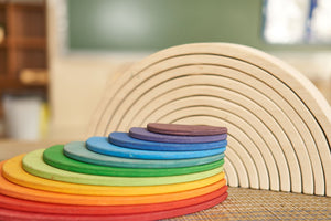 Large Semicircles for Rainbow Stackers (Made in Canada) - Wood Wood Toys Canada's Favourite Montessori Toy Store
