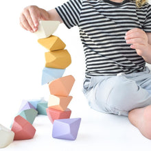 Load image into Gallery viewer, Matte Rainbow Rock Blocks (Set of 16) - Wood Wood Toys Canada's Favourite Montessori Toy Store