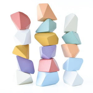 Matte Rainbow Rock Blocks (Set of 16) - Wood Wood Toys Canada's Favourite Montessori Toy Store