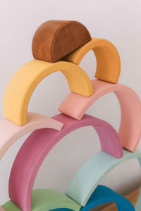 Medium Pastel Rainbow Stacker by Avdar - Wood Wood Toys Canada's Favourite Montessori Toy Store