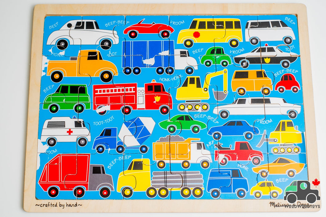 Melissa & Doug 'Beep Beep' 24-piece Jigsaw Puzzle - Wood Wood Toys Canada's Favourite Montessori Toy Store