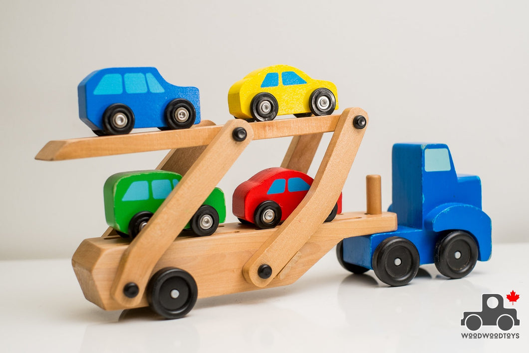 Melissa & Doug Car Carrier Truck and Cars Wooden Toy Set with 1 Truck and 4 Cars - Wood Wood Toys Canada's Favourite Montessori Toy Store