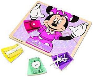 Melissa & Doug Disney Minnie Mouse Wooden Basic Skills Board - Zip, Lace, Tie, Buckle, Button, and Snap - Wood Wood Toys Canada's Favourite Montessori Toy Store