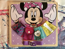 Load image into Gallery viewer, Melissa & Doug Disney Minnie Mouse Wooden Basic Skills Board - Zip, Lace, Tie, Buckle, Button, and Snap - Wood Wood Toys Canada's Favourite Montessori Toy Store
