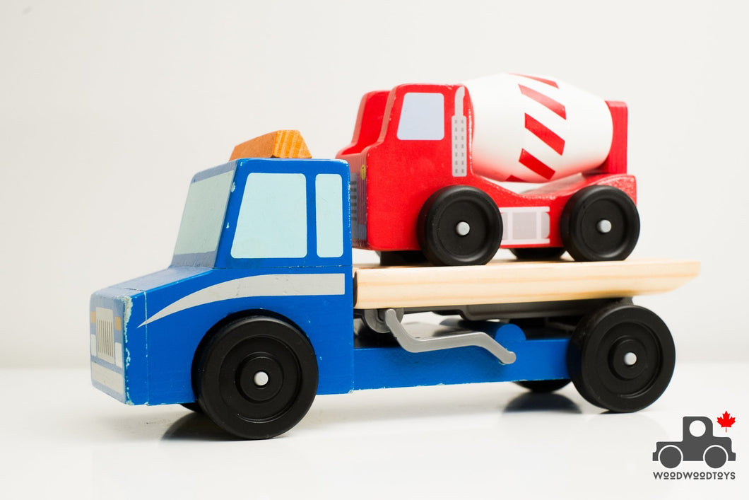 Melissa & Doug Flatbed Truck with Cement Mixer - Wood Wood Toys Canada's Favourite Montessori Toy Store