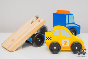 Melissa & Doug Flatbed Truck with Vehicle - Wood Wood Toys Canada's Favourite Montessori Toy Store