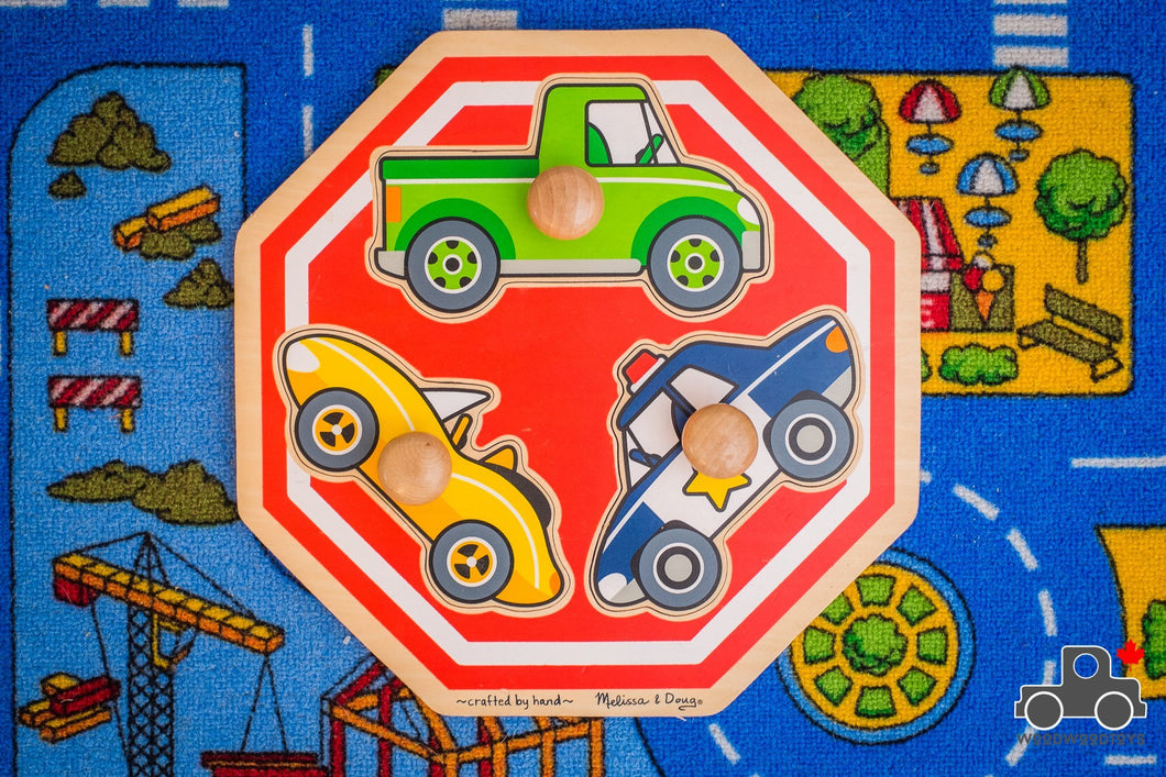 Melissa & Doug Jumbo Knob Vehicles Stop Sign Puzzle - Wood Wood Toys Canada's Favourite Montessori Toy Store