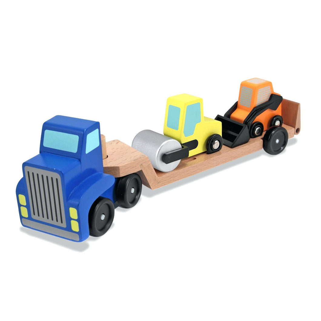 Melissa & Doug Low Loader Wooden Vehicle Play Set - 1 Truck with 2 Chunky Construction Vehicles (NEW) - Wood Wood Toys Canada's Favourite Montessori Toy Store