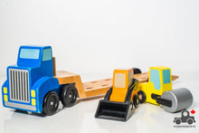 Load image into Gallery viewer, Melissa & Doug Low Loader Wooden Vehicle Play Set - 1 Truck with 2 Chunky Construction Vehicles - Wood Wood Toys Canada's Favourite Montessori Toy Store
