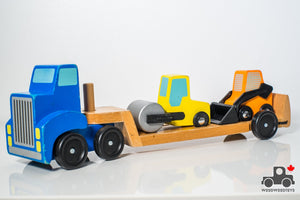 Melissa & Doug Low Loader Wooden Vehicle Play Set - 1 Truck with 2 Chunky Construction Vehicles - Wood Wood Toys Canada's Favourite Montessori Toy Store