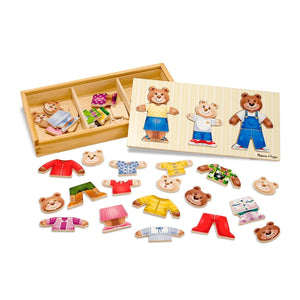 Melissa & Doug Mix 'n Match Wooden Bear Family Dress-Up Puzzle with Storage Case - Wood Wood Toys Canada's Favourite Montessori Toy Store