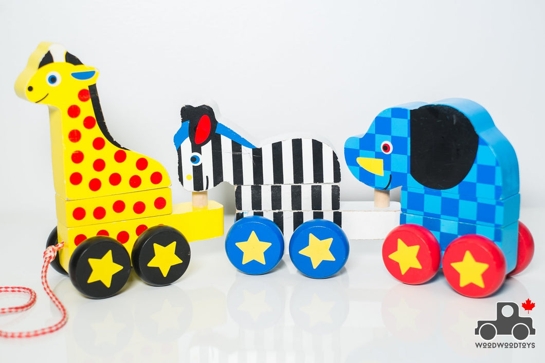 Melissa & Doug Pull-Along Zoo Animals - Wood Wood Toys Canada's Favourite Montessori Toy Store