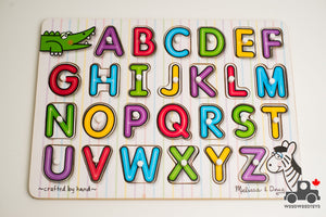 Melissa & Doug See-Inside Alphabet Wooden Peg Puzzle (26 Pieces) - Wood Wood Toys Canada's Favourite Montessori Toy Store