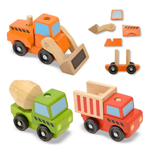 Melissa & Doug Stacking Work Vehicles - Wood Wood Toys Canada's Favourite Montessori Toy Store