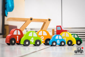 Melissa & Doug Truck and Trailer PLUS Six Numbered Cars - Wood Wood Toys Canada's Favourite Montessori Toy Store