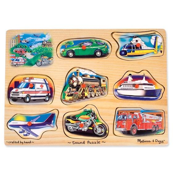 Melissa & Doug Vehicles Sound Puzzle - Wood Wood Toys Canada's Favourite Montessori Toy Store