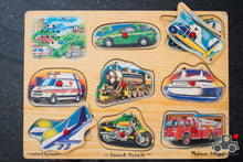 Load image into Gallery viewer, Melissa & Doug Vehicles Sound Puzzle - Wood Wood Toys Canada's Favourite Montessori Toy Store