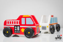 Load image into Gallery viewer, Melissa & Doug Wooden Emergency Vehicles (Set of 2) - Wood Wood Toys Canada's Favourite Montessori Toy Store