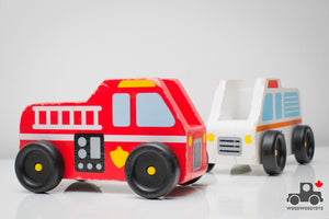 Melissa & Doug Wooden Emergency Vehicles (Set of 2) - Wood Wood Toys Canada's Favourite Montessori Toy Store