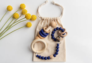 Modern Baby Gift Set in Navy Blue by Legacy Learning Academy - Wood Wood Toys Canada's Favourite Montessori Toy Store