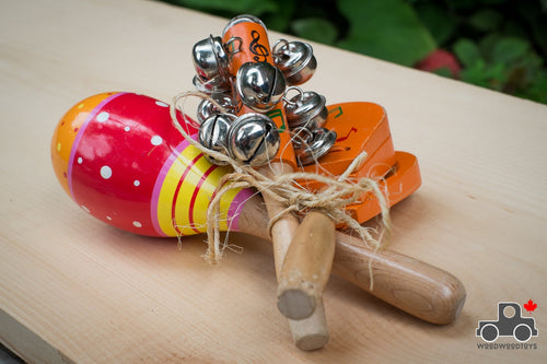 Musical Instrument Set: Clapper, Maraca & Jingle Rattle - Wood Wood Toys Canada's Favourite Montessori Toy Store