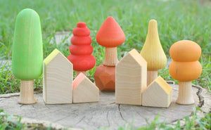 Ocamora Houses - 7 pieces Natural and Coloured - Wood Wood Toys Canada's Favourite Montessori Toy Store