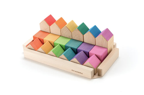 Ocamora Little Houses and Cubes - Natural and Coloured (18 Pieces) - Wood Wood Toys Canada's Favourite Montessori Toy Store