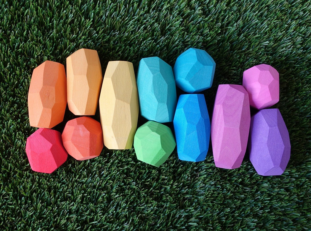 Ocamora 'Teniques' Stacking Stones - Coloured (12 pieces) - Wood Wood Toys Canada's Favourite Montessori Toy Store