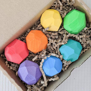 Ocamora 'Teniques' Stacking Stones - Coloured (7 pieces) - Wood Wood Toys Canada's Favourite Montessori Toy Store