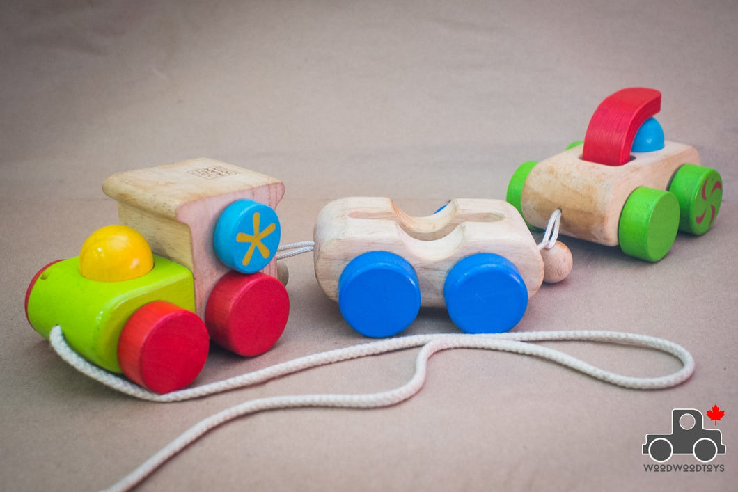 Plan Toys Pull-Along Happy Train - Wood Wood Toys Canada's Favourite Montessori Toy Store