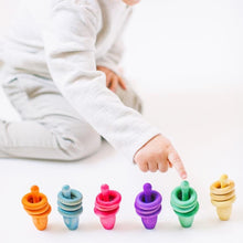 Load image into Gallery viewer, Rainbow Pin & Ring Stacking Set by Legacy Learning Academy - Wood Wood Toys Canada's Favourite Montessori Toy Store