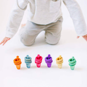 Rainbow Pin & Ring Stacking Set by Legacy Learning Academy - Wood Wood Toys Canada's Favourite Montessori Toy Store