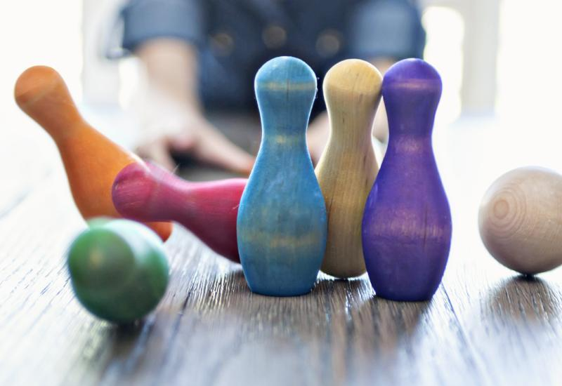 Rainbow Tabletop Bowling Set by Legacy Learning Academy - Wood Wood Toys Canada's Favourite Montessori Toy Store