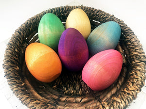 Rainbow Wooden Eggs (Set of 6) by Legacy Learning Academy - Wood Wood Toys Canada's Favourite Montessori Toy Store