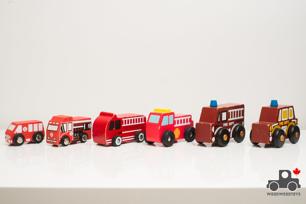 Set of Six Wooden Fire Trucks - Wood Wood Toys Canada's Favourite Montessori Toy Store