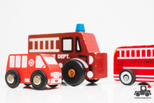 Load image into Gallery viewer, Set of Six Wooden Fire Trucks - Wood Wood Toys Canada's Favourite Montessori Toy Store