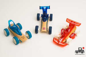 Set of Three Hape Mighty Mini Bamboo Racers - Wood Wood Toys Canada's Favourite Montessori Toy Store