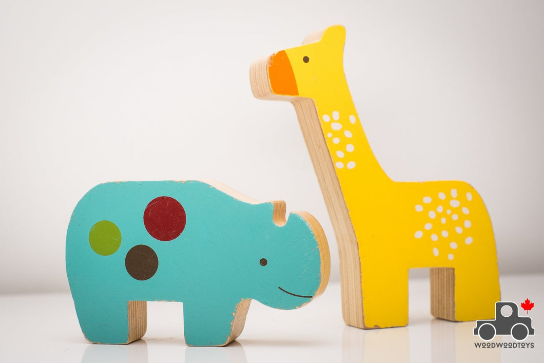 Skip Hop Wooden Rhino and Giraffe Set - Wood Wood Toys Canada's Favourite Montessori Toy Store