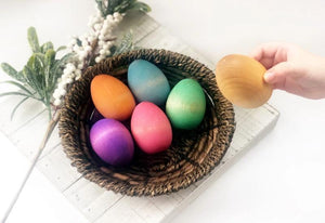 Rainbow Wooden Eggs (Set of 6) by Legacy Learning Academy