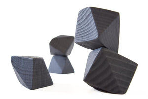 Tiny Coal Rock Blocks (Set of 5) - Wood Wood Toys Canada's Favourite Montessori Toy Store