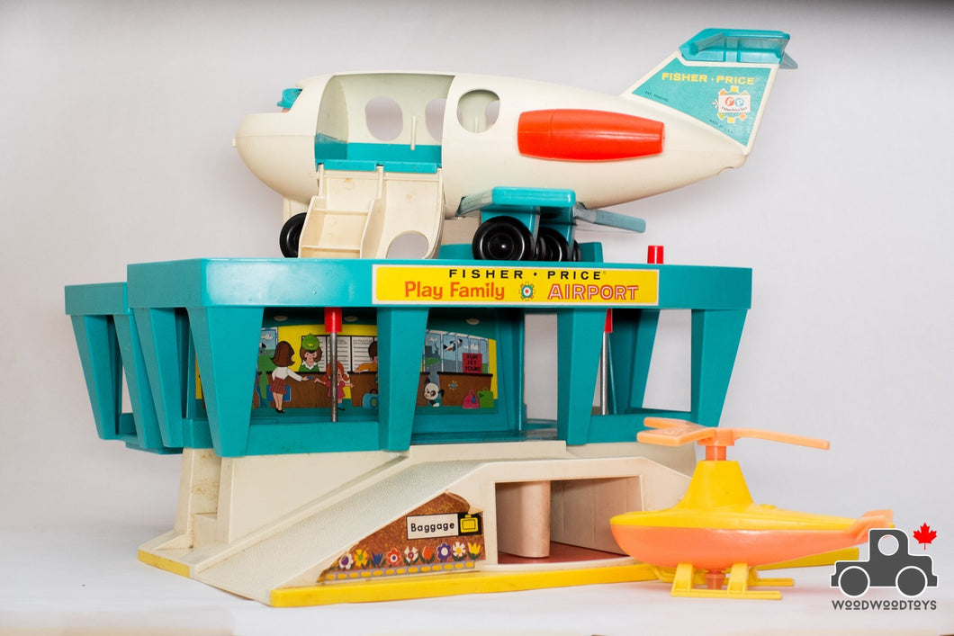 Vintage 1970s Fisher Price #996 Play Family Airport Set - Wood Wood Toys Canada's Favourite Montessori Toy Store