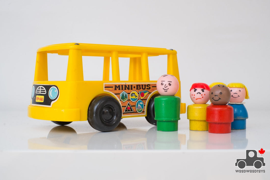 Vintage Fisher Price Play Family Mini Bus #141 - Wood Wood Toys Canada's Favourite Montessori Toy Store